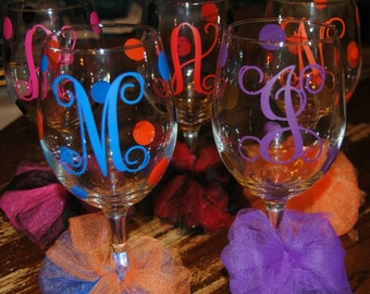 Monogrammed Personalized wine glass Great for bridal party/birthday/girls night out