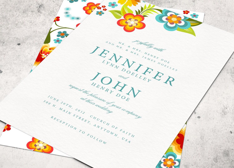 Bright Wedding Invitations: BRIGHT FLORAL WEDDING Invitations Printable By ArtsyDesignCo