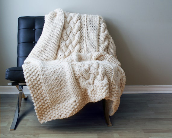 "DIY Knitting PATTERN - Throw Blanket / Rug Super Chunky Double Cable Approximately 49"" x 64"" (blanket001)"