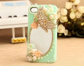 Mirror iPhone 4 case 3D iphone case Bow case Iphone4 case iphone4s case pearl iphone 5 case 3d iphone 5 case mirror iphone 5 case