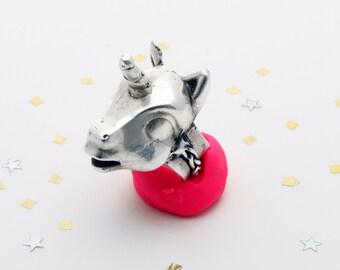 Peaches the Unicorn ring. silver