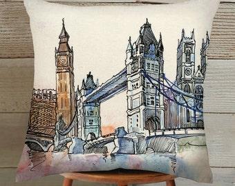 London Bridge Suede Pillow Cover