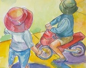 Watercolor original - Children's portrait - Kids illustration- Original art - Two siblings riding a bike