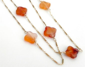 Carnelian Clover Quatrefoil Necklace/ Long  Bohemian 14 K Gold fill Necklace/ layering necklace/ Beachy chic/ Long gemstone necklace
