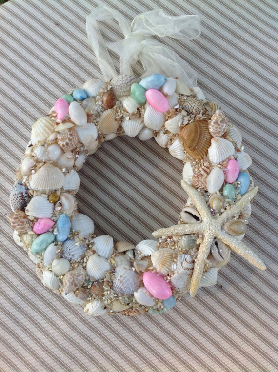 Do It Yourself Home Design: Sea Shell Wreath Pink Blue Nautical Wreath Starfish By