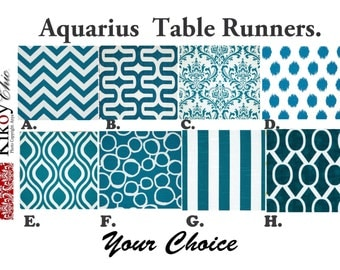 "Blue Table Runner-Aquarius Table Runner.Aquarius & White Table Cloth-  48"", 60"",72"",84"",96"" Runner or 12 x 18""Placemat."