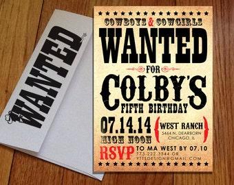 Cowboy - Wild West Birthday Invitations with Custom Printed Envelopes