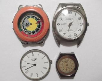 Set of 4 Vintage Digital  Watches  non working Watch parts  Supplies Finding  Steampunk  Assemblage