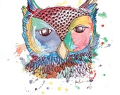 "SALE! Wild Colourful Owl Watercolour Art Drawing 8x10"" Print (unframed)"