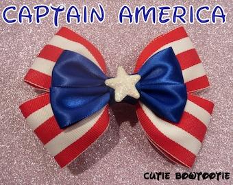 Captain America Hair Bow Avengers Disney Inspired