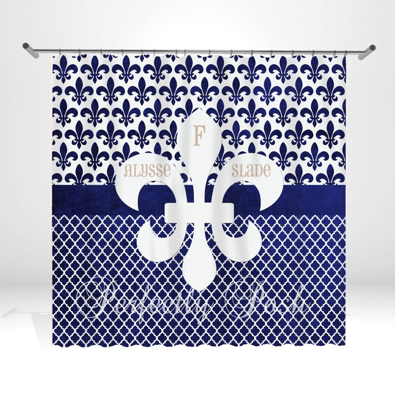 Fleur De Lis Personalized Custom Shower Curtain Monogram With