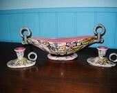 BLOSSOM FLITE HULL 1950s candle holders with console bowl pink mid century modern set of 3