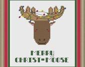 Merry Christ-moose: cute Christmas moose cross-stitch pattern