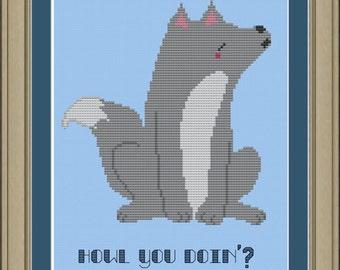 Howl you doin': cute wolf cross-stitch pattern