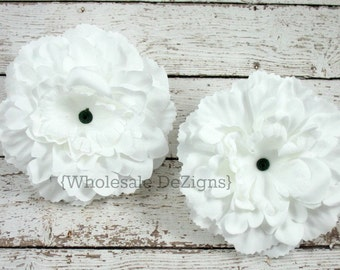 "White Silk Peony flowers - 4 inches Flower Heads - 4"" - 2 Peonies"
