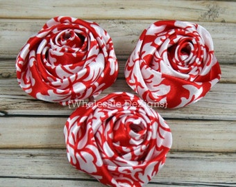 "Red Damask Satin Rolled Rosette Flowers - 2"" - Set of 3 - Red and White - DIY Headband Supplies Embellishments"