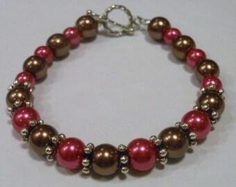 Chocolate and Raspberry Glass Pearl Bracelet