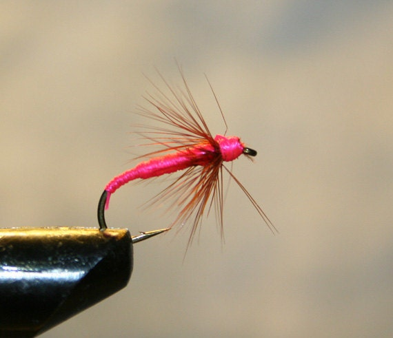 Made in michigan fly fishing flies pink spider on number 10 for Fishing spider michigan