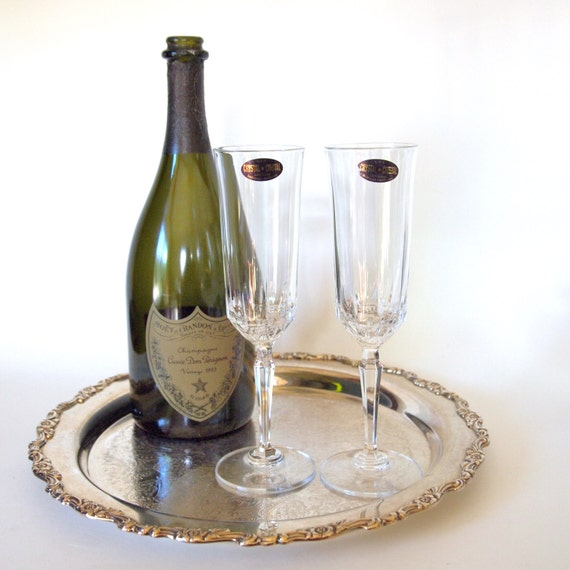 Vintage De Plomb 24% Lead Crystal Champagne Toasting Flutes - Set of 2 - Made in USA