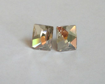 Gray Silver Rectangle Studs Earrings Swarovski Crystal Surgical Steel Posts Stud Crystal Shade Crystals