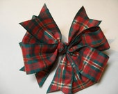 Red ChristmasTartan Plaid Uniform Hair Bow Holiday Boutique Layered Bow Toddler Girl Adult