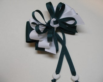 Heart Spruce Hunter Evergreen Green White Hair Bow Sweetheart School UNIFORM Boutique Streamers Tails Toddler Girl
