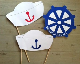Anchors Away Nautical Sailor's Photo Booth Party Props