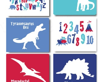 Red White & Blue Dinosaur Silhouette Alphabet Printable Wall Art Bedroom or Nursery with Instant Download Color 7
