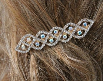 Beautiful gold  color hair comb with sparkling rhinestones 2.5 inch long