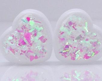 Diamond Heart Iridescent Heart Plugs - 0g,00g,7/16,9/16,5/8,11/16,3/4,7/8
