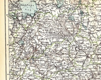 1898 Central Russia at the end of the 19th Century with the Onega and Ladoga Lakes Antique Map
