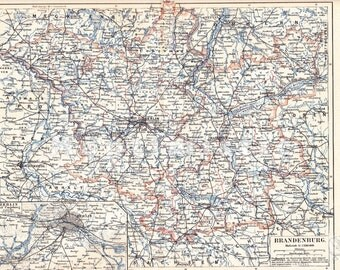 1893 Province of Brandenburg in Kingdom of Prussia at the end of the 19th Century Dated Antique Map
