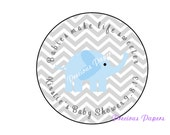 Personalized PRINTED blue elephant baby shower sticker blue and gray chevron baby shower favor stickers yellow gray chevron labels
