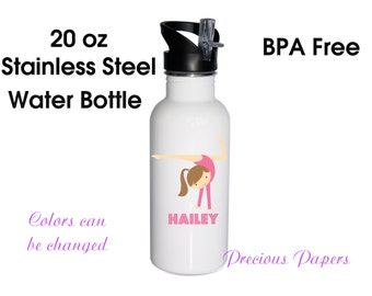 Personalized stainless steel water bottle - gymnastics water bottles - gymnastics metal water bottle gymnastics stainless steel water bottle