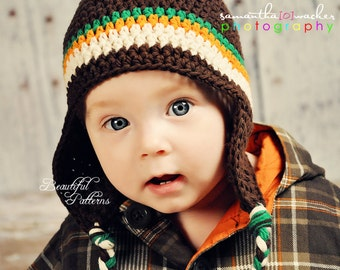 Crochet Hat Pattern Baby Boy Crochet Hat Earflap Beanie Aviator Four Stripe PDF 250 Newborn to Preteen Photo Prop Instant Download