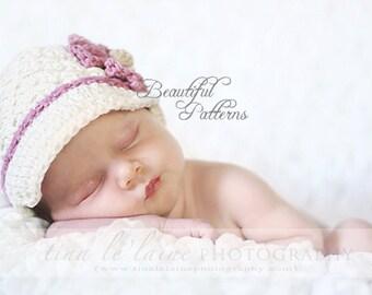 Crochet Hat Pattern Newborn Crochet Hat Daisy Visor Beanie Hat PDF 150 Newborn to Adult  Photo Prop Instant Download