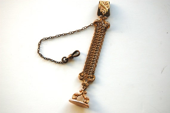 Antique Victorian Gold Watch Fob, Bates & Bacon dated 1903, Engraved Initials RFT