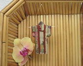 """Tiny Ornament. """"Autumn Fans, Rust."""" Fabric Origami Kimono: Handmade, Fall Color, Japanese Maple Ribbons Flowers. Hang it, Frame it, Give it."""