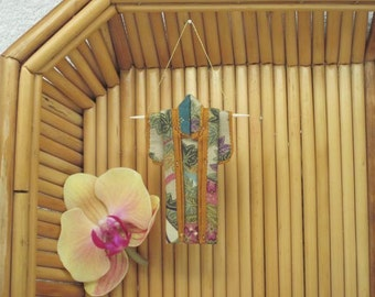 """3"""" Ornament. """"Autumn Fans, Gold."""" Handmade Fabric Origami Kimono: Elegant Champagne Rose Teal Japanese Maple. Hang it Frame it Give it"""