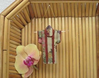 """Tiny Ornament. """"Autumn Fans, Rust."""" Fabric Origami Kimono: Handmade, Fall Color, Japanese Maple Ribbons. Hang it, Frame it, Give it."""