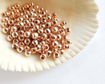 100 Rose Gold Plated Spacer Beads - 4mm - 28-23