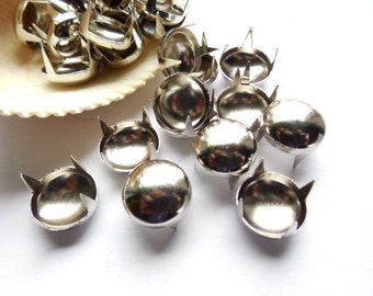 50 Silver Round Dome Studs - 14mm - 23-TOP-2