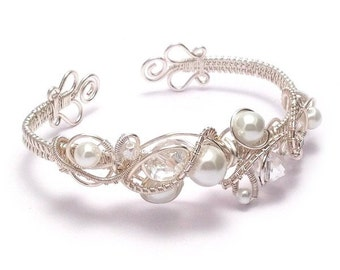 Bridal Cuff Bracelet | Crystal and Pearl Wire Weave Bridal Cuff Bracelet | Bridal Jewellery UK | Wedding Jewellery | Bridal Bracelet