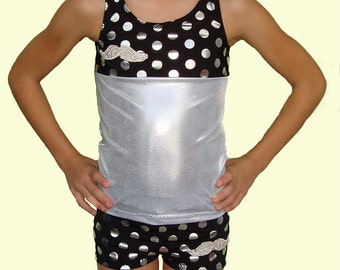 """Adorable Mustache 2 pc. Dance Outfit - Just like the ones on """"Dance Moms."""" Dance Shorts and Sports Bra Dance Crop Top"""