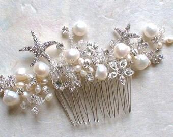 Starfish Bridal Hair Comb. Starfish hair Accessories. Bridal Decorative Combs. Beach Wedding. Crystal hair comb. Wedding Hair accessories.