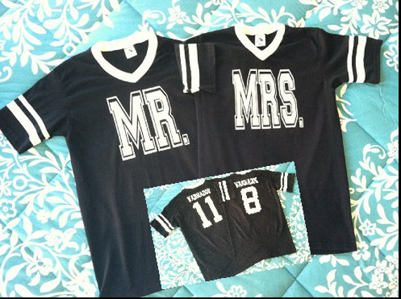 Mr. and Mrs. Custom Personalized Jersey T-shirts
