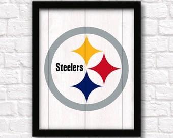 Pittsburgh Steelers Home Decor Boys Room Or Man Cave Rustic 16 X20 Handmade