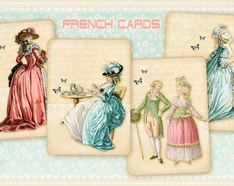 French greeting cards Printable download on Digital Collage Sheet Vintage images prints Paper goods French collage - FRENCH CARDS