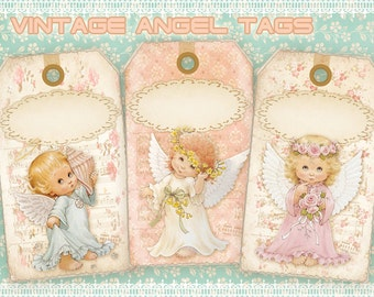 Vintage angel gift tags on Digital collage sheet Printable download for Paper craft Paper goods Scrapbooking - VINTAGE ANGEL TAGS