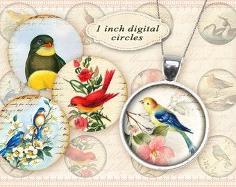 1 inch Circles on Digital collage sheet with vintage birds Printable download for Paper craft Digital circles - VINTAGE PAPER BIRDS